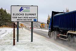 Winter comes to the Scottish Highlands - Traffic on the Slochd Pass on the A9 on Monday morning.<br /> <br /> (c) Andrew Wilson | Edinburgh Elite media