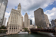 Wrigley Building and Tribune Tower from Wacker Drive in Chicago, IL.