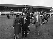 "07/08/1980<br /> 08/07/1980<br /> 07 August 1980<br /> R.D.S. Horse Show: John Player Top Score Competition, Ballsbridge, Dublin.  Harvey Smith (Great Britain) winner, on ""Sanyo Music Centre"" In front are  Mrs Oliver Casey, wife of the Managing Director John Player, President of the R.D.S. Professor John Carroll and  Oliver Casey, Managing Director, John Player."