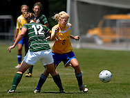 4 JUNE 2011 -- FENTON, Mo. -- St. Vincent High School soccer player Courtney Heberlie (6) battles Springfield Catholic High Schools' Carsen Baron (12) for control of the ball during the second half of the MSHSAA Class 1 girls' soccer championship game at the Anheuser-Busch Center in Fenton, Mo. Saturday, June 4, 2011. Springfield Catholic topped the Indians 3-2. Photo © copyright 2011 Sid Hastings.