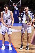 Francia 27/06/1999<br /> Campionati Europei di Basket Francia 1999<br /> Italia-Rep. Ceka<br /> Andrea Meneghin e Gianluca Basile esultano a fine gara