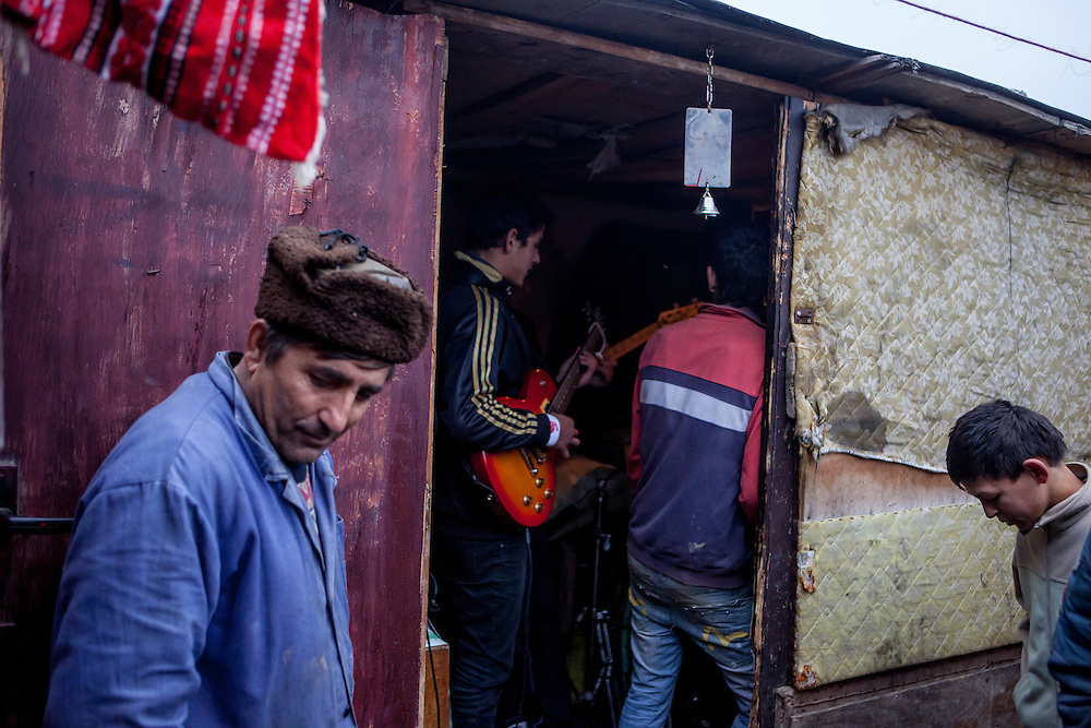 """Band rehearsel at the Roma settlement located in """"Budulovskej Street"""" in Moldava nad Bodvou, Eastern Slovakia about 30 km from Kosice. """"Budulovskej Street"""" is a segregated Roma settlement which is located about 2 km behind the Slovak village of Moldava nad Bodvou."""
