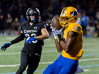 Grant Pacers Parris Warren (15), catches the ball for a touchdown making the score 19-0 after the point after attempt was good during the third quarter as the Capitol Christian Cougars host the Grant Pacers,  Friday Sep 8, 2017. photo by Brian Baer