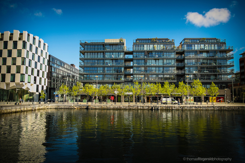 Dublin City, Ireland, 2012: An image of the modern appartment buildings and architecture on Hanover Quay in the Grand Canal Dock section fo the Docklands Quarter of Dublin City