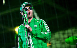 Grega Skocir of music group Big Foot Mama performs after winning during football match between NK Aluminij and NK Olimpija Ljubljana in the Final of Slovenian Football Cup 2017/18, on May 30, 2018 in SRC Stozice, Ljubljana, Slovenia. Photo by Vid Ponikvar / Sportida