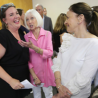 Mary Margret Case, of Oxford, and the daughter of Kitty Bryan Dill, shares a laugh with Jane Fatherree Smith and Betty Trulove, friends of Kitty, during a dedication ceremony of the Kitty Bryan Dill Breast Care Suite at the North Mississippi Medical Center in West Point on Monday.