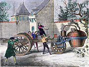 Steam carriage designed by Nicholas Cugnot (1725-1804) French inventor built in 1769. Said to be the first self-propelled mechanical vehicle, here having the first automobile accident. Mid-19th century engraving  Transport Steam