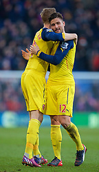 LONDON, ENGLAND - Saturday, February 21, 2015: Arsenal's Oliver Giroud celebrates his side's 2-1 victory over Crystal Palace with team-mate captain Per Mertesacker during the Premier League match at Selhurst Park. (Pic by David Rawcliffe/Propaganda)