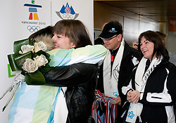Slovenian 2-times silver medalist alpine skier Tina Maze and her sister Maja, father Ferdo and mother Sonja  at arrival to Airport Joze Pucnik from Vancouver after Winter Olympic games 2010, on February 28, 2010 in Brnik, Slovenia. (Photo by Vid Ponikvar / Sportida)