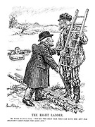 """The Right Ladder. Mr. Punch (to Uncle Sam). """"You're the only man who can save him - but for Heaven's sake take the long one."""""""