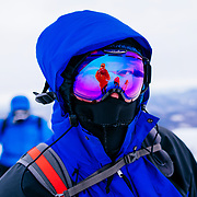 Ski goggles on the summit of Mount Washington in winter