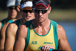 Australian Rowing Olympic Trials, March 2012, Sydney International Rowing Centre - Dan Noonan stroke of the Mens Quad Scull