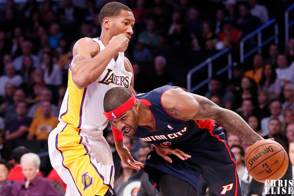 17 November 2013: Detroit Pistons small forward Josh Smith (6) drives past Los Angeles Lakers shooting guard Wesley Johnson (11) during the Los Angeles Lakers 114-99 victory over the Detroit Pistons at the Staples Center, Los Angeles, California, USA.