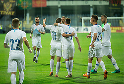 Roman Bezjak of Slovenia and Vid Belec of Slovenia celebrate after scoring first goal during friendly football match between National Teams of Montenegro and Slovenia, on June 2, 2018 in Stadium Pod goricom, Podgorica, Montenegro. Photo by Vid Ponikvar / Sportida