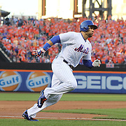 NEW YORK, NEW YORK - July 27: James Loney #28 of the New York Mets scores a run on a Neil Walker #20 of the New York Mets single during the St. Louis Cardinals Vs New York Mets regular season MLB game at Citi Field on July 27, 2016 in New York City. (Photo by Tim Clayton/Corbis via Getty Images)