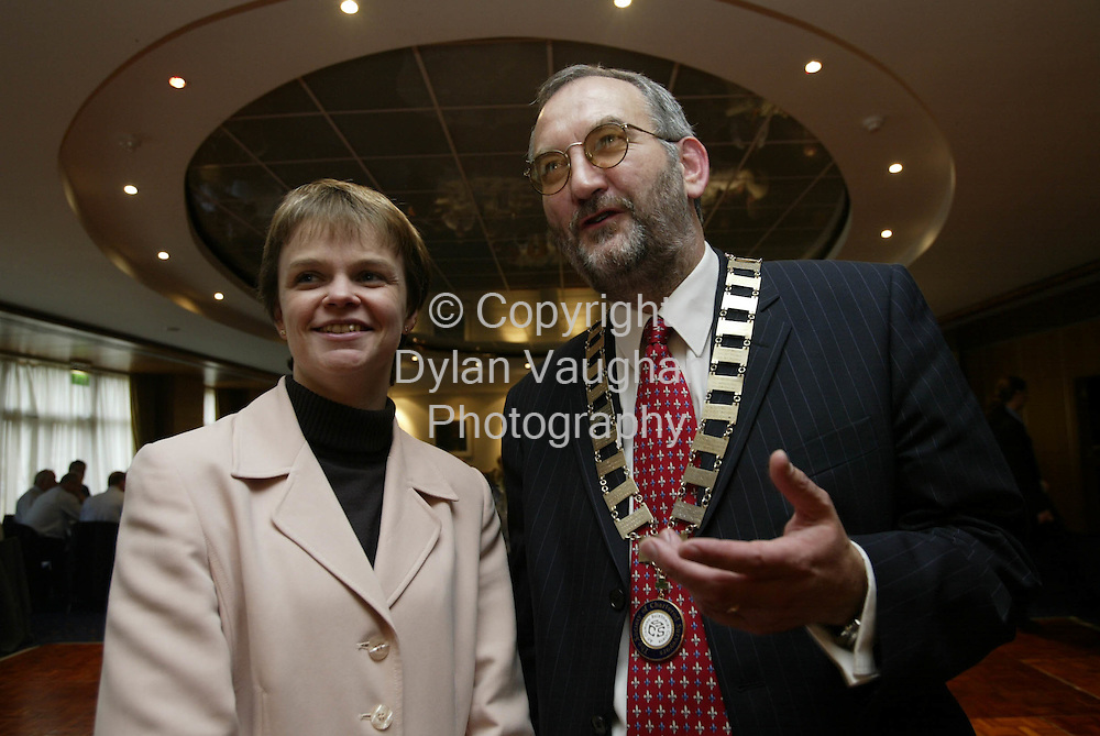 11/10/2002 attn of Helen Rogers, property editor.Pictured  at the Society of Chartered Surveyors Annual Conference at the Kilkenny Ormonde Hotel was Jill Craig RICS and John Daly Society President..Picture Dylan Vaughan