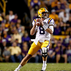 November 10, 2012; Baton Rouge, LA, USA; LSU Tigers quarterback Zach Mettenberger (8) against the Mississippi State Bulldogs during the first half of a game at Tiger Stadium.  Mandatory Credit: Derick E. Hingle-US PRESSWIRE