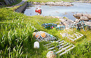 Small fishing boat at moorings on the east coast of Barra, Outer Hebrides, Scotland, UK