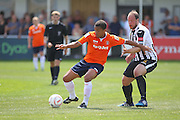 Luton Town Zane Banton on the ball during the Pre-Season Friendly match between Peacehaven & Telscombe and Luton Town at the Peacehaven Football Club, Peacehaven, United Kingdom on 18 July 2015. Photo by Phil Duncan.