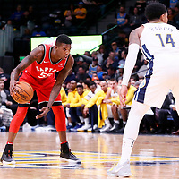 01 November 2017: Toronto Raptors guard Delon Wright (55) sets the offense during the Denver Nuggets 129-111 victory over the Toronto Raptors, at the Pepsi Center, Denver, Colorado, USA.