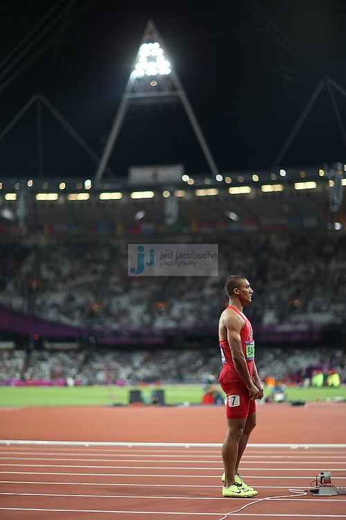 Ashton Eaton of the USA prepares to start the 400m portion of the decathlon during track and field at the Olympic Stadium during day 12 of the London Olympic Games in London, England, United Kingdom on August 8, 2012..(Jed Jacobsohn/for The New York Times)..
