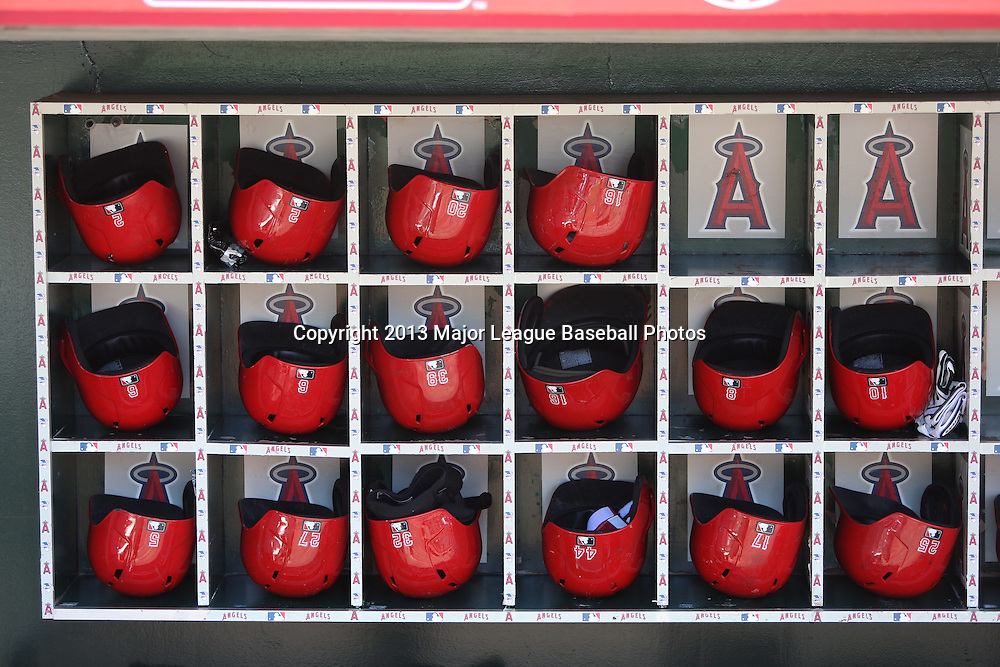 ANAHEIM, CA - JUNE 15:  Batting helmets line their respective bins before the Los Angeles Angels of Anaheim game against the New York Yankees on Saturday, June 15, 2013 at Angel Stadium in Anaheim, California. The Angels won the game 6-2. (Photo by Paul Spinelli/MLB Photos via Getty Images)