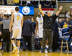 Jan 9, 2016; Morgantown, WV, USA; West Virginia Mountaineers head coach Bob Huggins reacts after a timeout was called by the Oklahoma State Cowboys during the first half at the WVU Coliseum. Mandatory Credit: Ben Queen-USA TODAY Sports