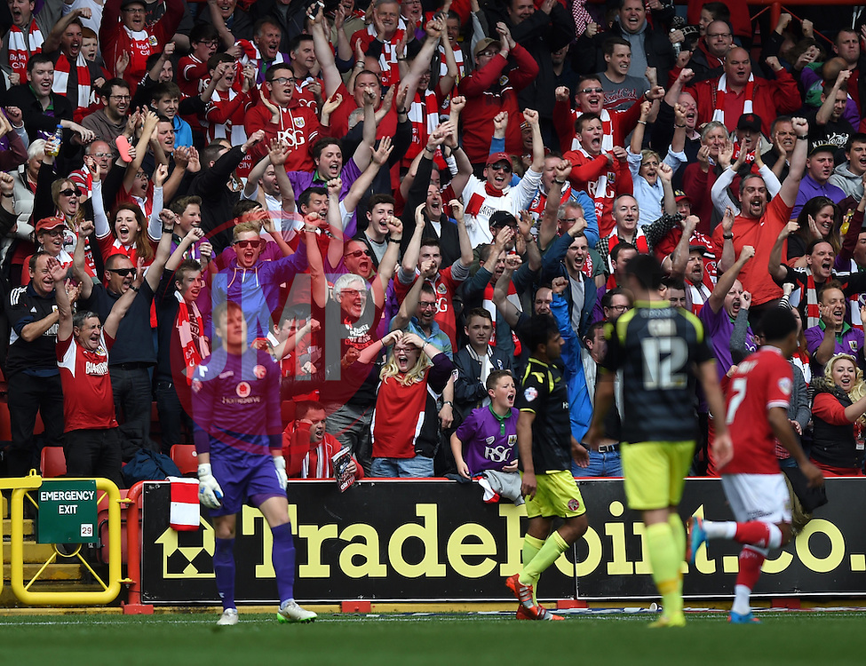 Bristol City supporters celebrate Kieran Agard's goal - Photo mandatory by-line: Paul Knight/JMP - Mobile: 07966 386802 - 03/05/2015 - SPORT - Football - Bristol - Ashton Gate Stadium - Bristol City v Walsall - Sky Bet League One