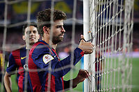Barcelona´s Pique celebrate after winning the 2014-15 Copa del Rey final match against Athletic de Bilbao at Camp Nou stadium in Barcelona, Spain. May 30, 2015. (ALTERPHOTOS/Victor Blanco)