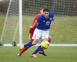 KIRKBY, ENGLAND - Friday, February 24, 2012: Everton's Anton Forrester in action against Liverpool during the FA Premier League Academy match at the Kirkby Academy. (Pic by David Rawcliffe/Propaganda)