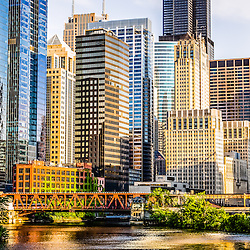 Picture of Chicago buildings at Lake Street Bridge along the Chicago River. Photo is high resolution and was taken in 2012.