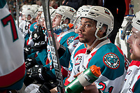 KELOWNA, CANADA - APRIL 25: Devante Stephens #21 of the Kelowna Rockets sits on the bench against the Seattle Thunderbirds on April 25, 2017 at Prospera Place in Kelowna, British Columbia, Canada.  (Photo by Marissa Baecker/Shoot the Breeze)  *** Local Caption ***
