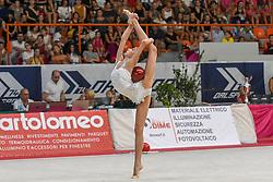 July 28, 2018 - Chieti, Abruzzo, Italy - Rhythmic gymnast Yeva Meleshchuk of Ukraine performs her ball routine during the Rhythmic Gymnastics pre World Championship Italy-Ukraine-Germany at Palatricalle on 29th of July 2018 in Chieti Italy. (Credit Image: © Franco Romano/NurPhoto via ZUMA Press)