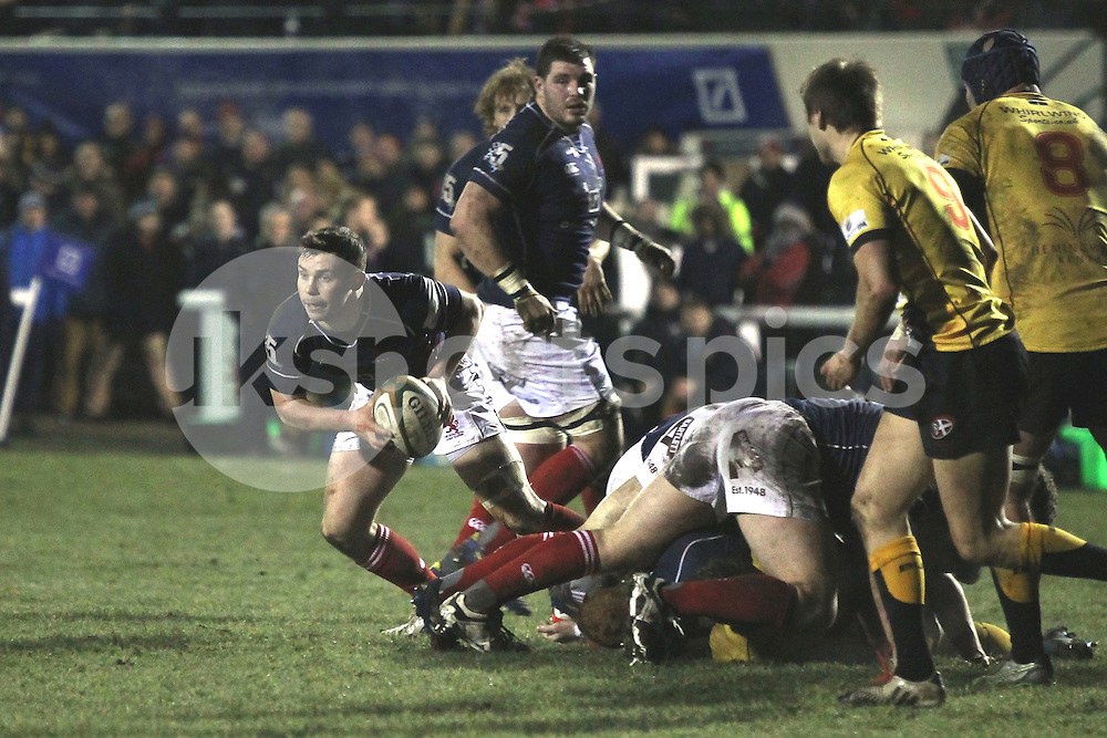 Jamie Stevenson in action during the Green King IPA Championship match between London Scottish &amp; Cornish Pirates at Richmond, Greater London on 16th January 2015<br /> <br /> Photo: Ken Sparks | UK Sports Pics Ltd<br /> London Scottish v Cornish Pirates, Green King IPA Championship, 16h January 2015<br /> <br /> &copy; UK Sports Pics Ltd. FA Accredited. Football League Licence No:  FL14/15/P5700.Football Conference Licence No: PCONF 051/14 Tel +44(0)7968 045353. email ken@uksportspics.co.uk, 7 Leslie Park Road, East Croydon, Surrey CR0 6TN. Credit UK Sports Pics Ltd