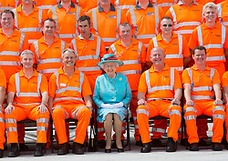READING- UK - 17-JULY-2014: Britain's Her Majesty The Queen opens Reading Railway Station, Berkshire, to mark the redevelopment of the station area. During the visit The Queen names the new High Output Plant system (HOPS) train &ndash; a specially built 23-vehicle train which will be used to electrify the railway from London to Swansea.<br /> Photograph by Ian Jones