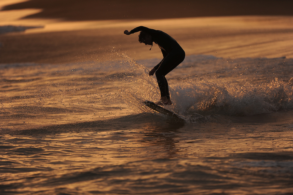 21 September 2011: Surfer at The Wedge in Newport Beach, CA.