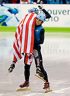 Apolo Anton Ohno celebrates his silver medal with fellow American and bronze medalist J.R. Celski after the two placed second and third in the Men's 1500m short track speed skating event at the 2010 Olympic Winter Games Saturday in Vancouver.
