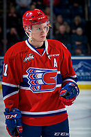 KELOWNA, BC - FEBRUARY 06:  Jaret Anderson-Dolan #11 of the Spokane Chiefs stands on the ice against the Kelowna Rockets  at Prospera Place on February 6, 2019 in Kelowna, Canada. (Photo by Marissa Baecker/Getty Images)