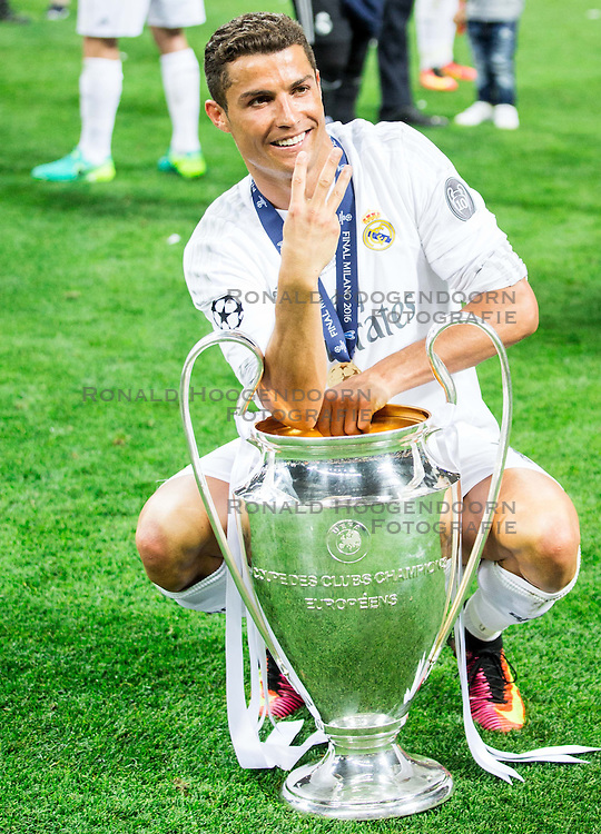 28-05-2016 ITA, UEFA CL Final, Atletico Madrid - Real Madrid, Milaan<br /> Cristiano Ronaldo of Real Madrid celebrates after winning<br /> <br /> ***NETHERLANDS ONLY***