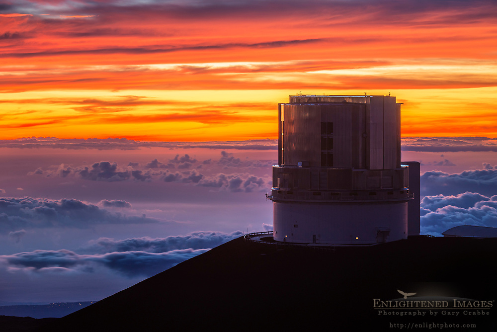 Sunset clouds and the Subaru Telescope observatory on the summit of Mauna Kea, (13,800') Big Island of Hawai'i, Hawaii