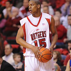 Jan 31, 2009; Piscataway, NJ, USA; Rutgers forward J.R. Inman (15) controls the ball during the first half of Rutgers' 75-56 victory over DePaul in NCAA college basketball at the Louis Brown Athletic Center