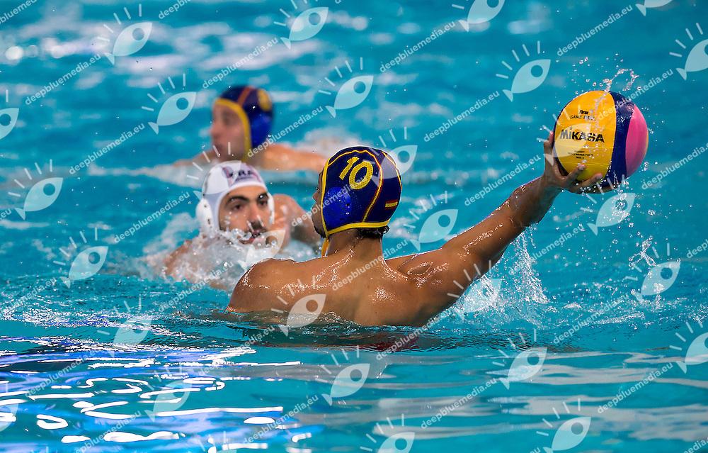 10 Francisco FERNANDEZ ESP <br /> FINA Men's Water polo Olympic Games Qualifications Tournament 2016<br /> Final 3rd place<br /> France FRA (White) Vs Spain ESP (Blue)<br /> Trieste, Italy - Swimming Pool Bruno Bianchi<br /> Day 08  10-04-2016<br /> Photo L.Binda/Insidefoto/Deepbluemedia