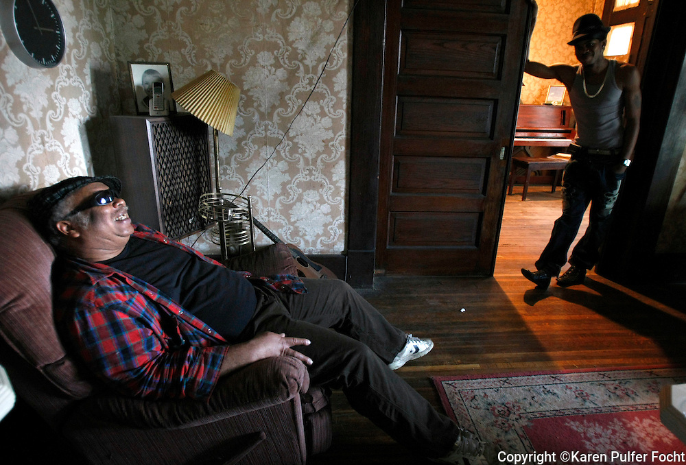 Blues artist and harmonica player Blind Mississippi in his Memphis home.