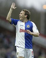 Photo: Aidan Ellis.<br /> Blackburn Rovers v Arsenal. The Barclays Premiership. 25/02/2006.<br /> Blackburn's Criag Bellamy enjoys him self against Arsenal
