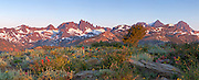 A panorama of the Minarets and Ritter Range as seen from the Minarets Vista at early morning.