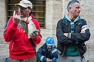 Roma, 13/11/2014: Operai della Acciai Speciali Terni in attesa degli esiti dell'incontro al Ministero della Sviluppo Economico tra governo, azienda e sindacati.
