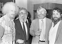 Eamonn Campbell, Ronnie Drew, John Sheahan and Barney McKenna of The Dubliners at the reception in Guinness Storehouse to launch the film The Dubliner's Dublin, circa October 1988 (Part of the Independent Newspapers Ireland/NLI Collection).