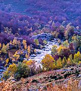 River Tarn valley autumn landscape Cevennes national park, Mont Lozere, France