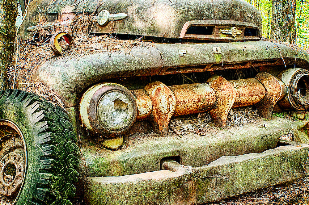 The front section of an old Ford truck is gradually rusting away in the Old Car City junkyard in Georgia.