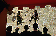 SPAIN / Tarragona / Montblanc. Medieval recreations in Spain. Soldiers training. This village celebrates every April the Medieval week of Saint George.....